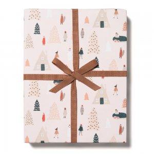 ピンクツリータウン柄包装紙/ラッピングペーパー