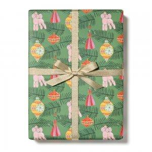 【11月初旬入荷発送予約】クリスマスオーナメントとプードルの包装紙