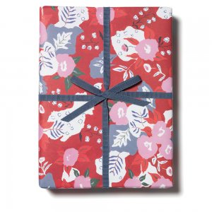 【11月初旬入荷発送予約】ルビーレッドフラワー柄包装紙