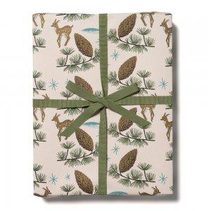 【11月初旬入荷発送予約】鹿と松ぼっくり柄包装紙
