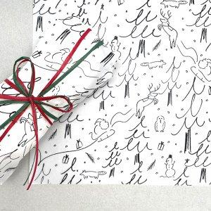 【大判オーダー】モノトーンクリスマス包装紙 /500枚
