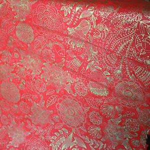 【11月初旬入荷発送予約】ネパール手漉き紙 花と植物柄ペーパー/レッド包装紙