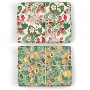 いちご畑/ピーチの木 ダブルサイド包装紙/ラッピングペーパー