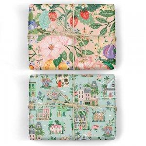 サマーフルーツ/グリーンのワールドハウス ダブルサイド包装紙/ラッピングペーパー