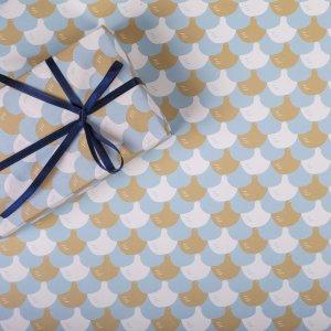水色×茶の千鳥柄ラッピングペーパー/包装紙 5枚