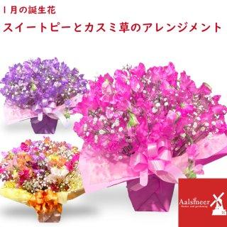 【1月誕生花】スイートピー30本のアレンジメント