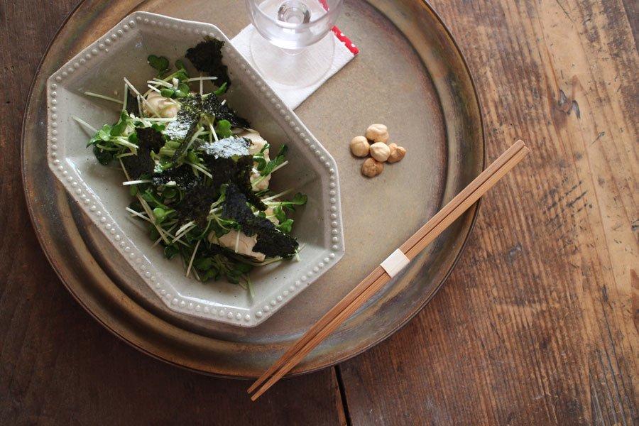 ペールグリーン 八角洋鉢 細長