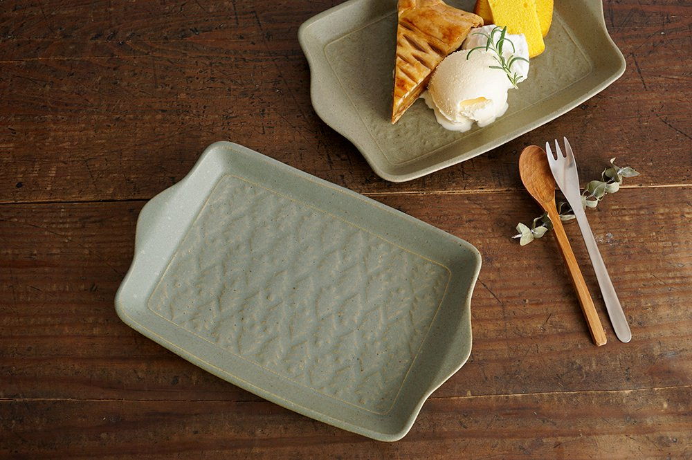 オリーブグリーン 森のサンドイッチ皿
