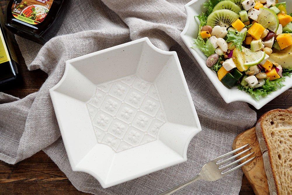 ホワイト 隅切鉢 flowerpattern