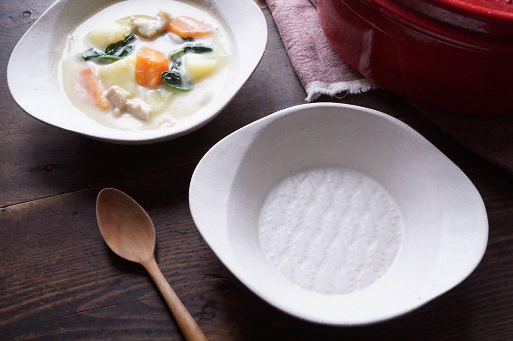 ホワイト 森のスープ皿