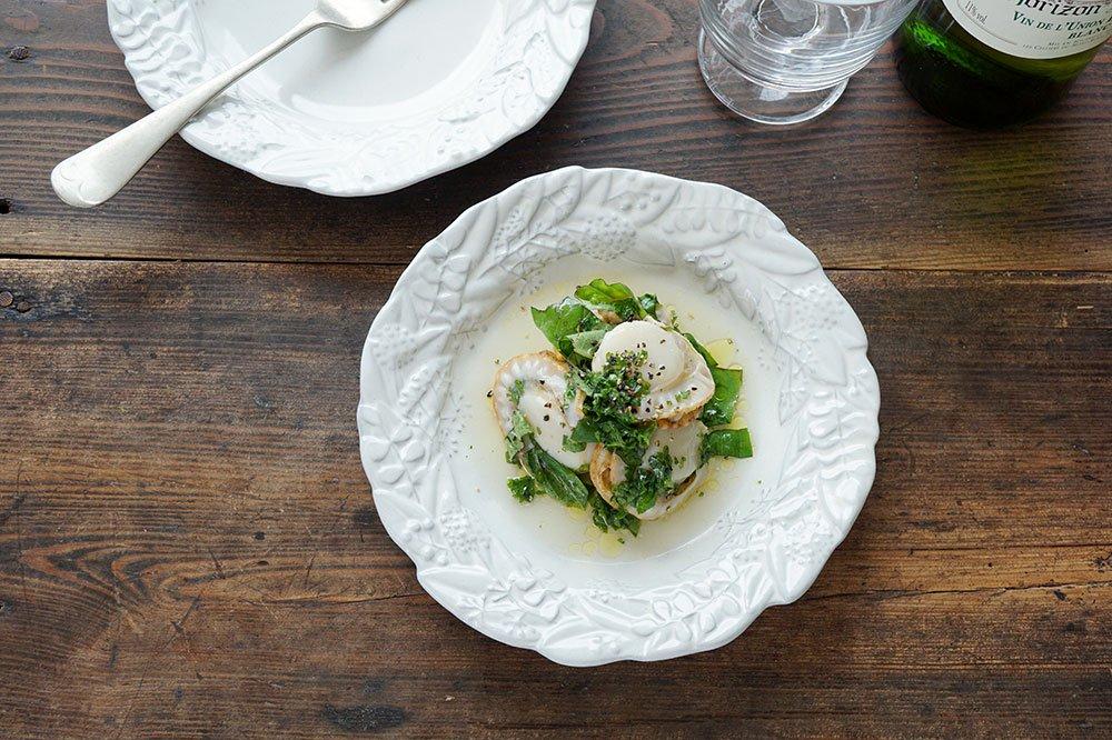 ホワイトグレー 6寸リース皿 リーフ