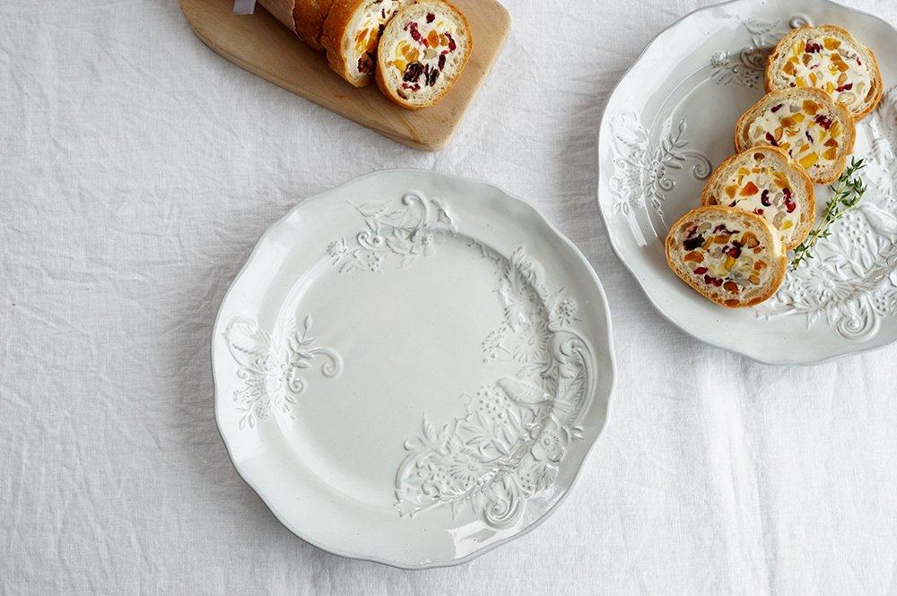 ホワイトグレー 西洋絵皿 大