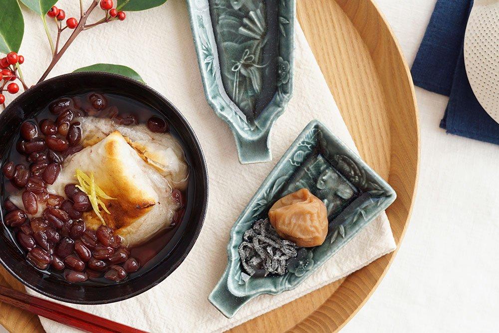 アッシュグレー 羽子板豆皿