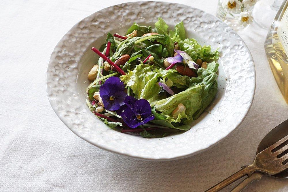 ホワイトグレー 花畑のスープ皿