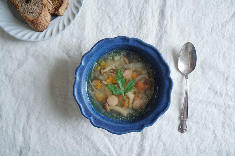 藍色 西洋スープ鉢