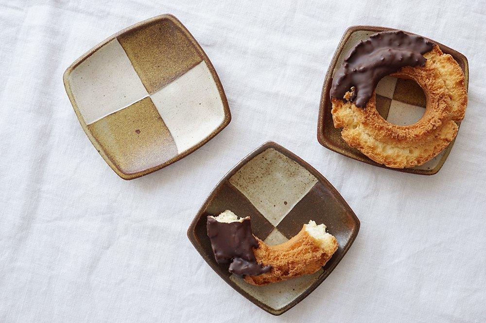 oldwhite 市松クッキー皿