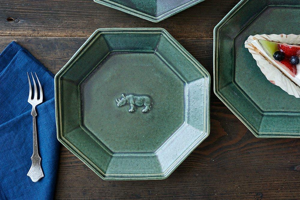 銅緑釉 八角サイの皿