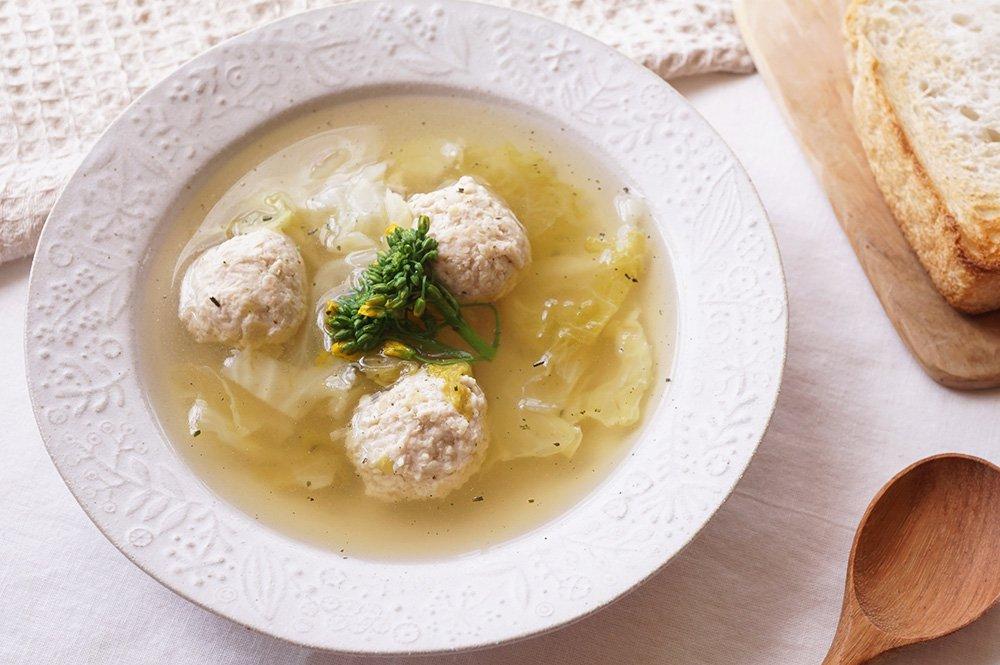 ホワイト ボタニカルのスープ皿