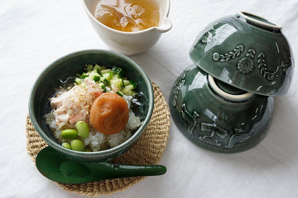 ベルベットグリーン 花と鳥の飯碗