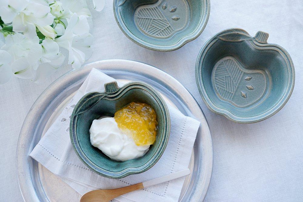銅緑釉 パッチワークのりんご小鉢
