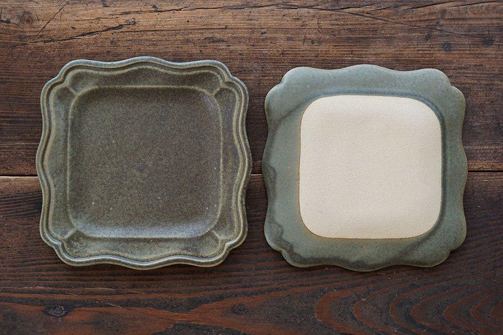 銅錆釉 正方西洋皿 小