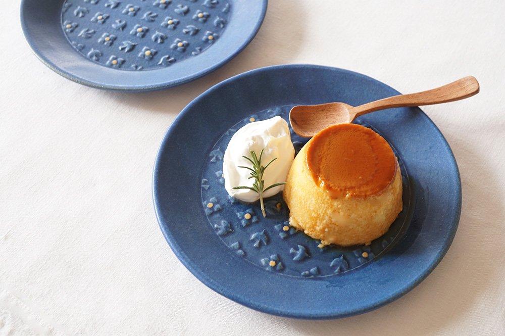 藍色 bird & flower 丸皿