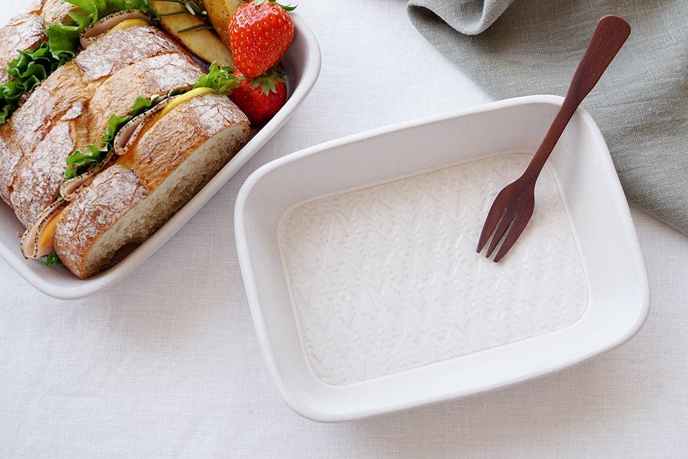 ホワイト 森のお弁当鉢