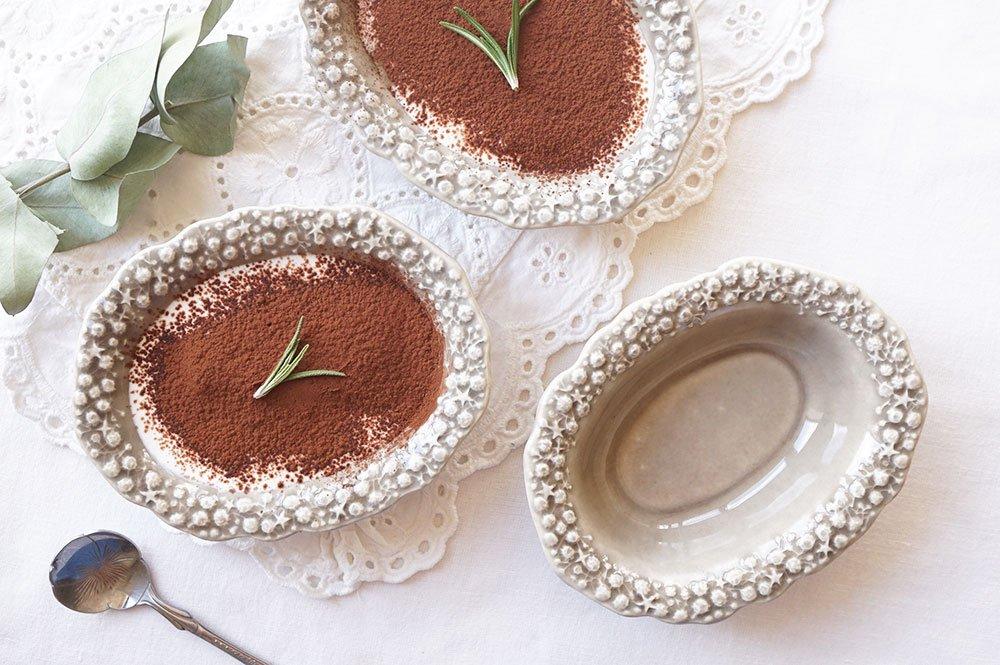パールストーングレー カスミソウの楕円小鉢