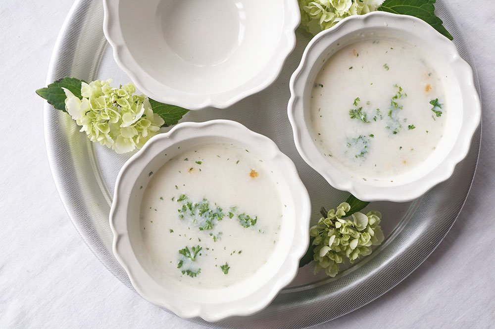 白い西洋スープ鉢