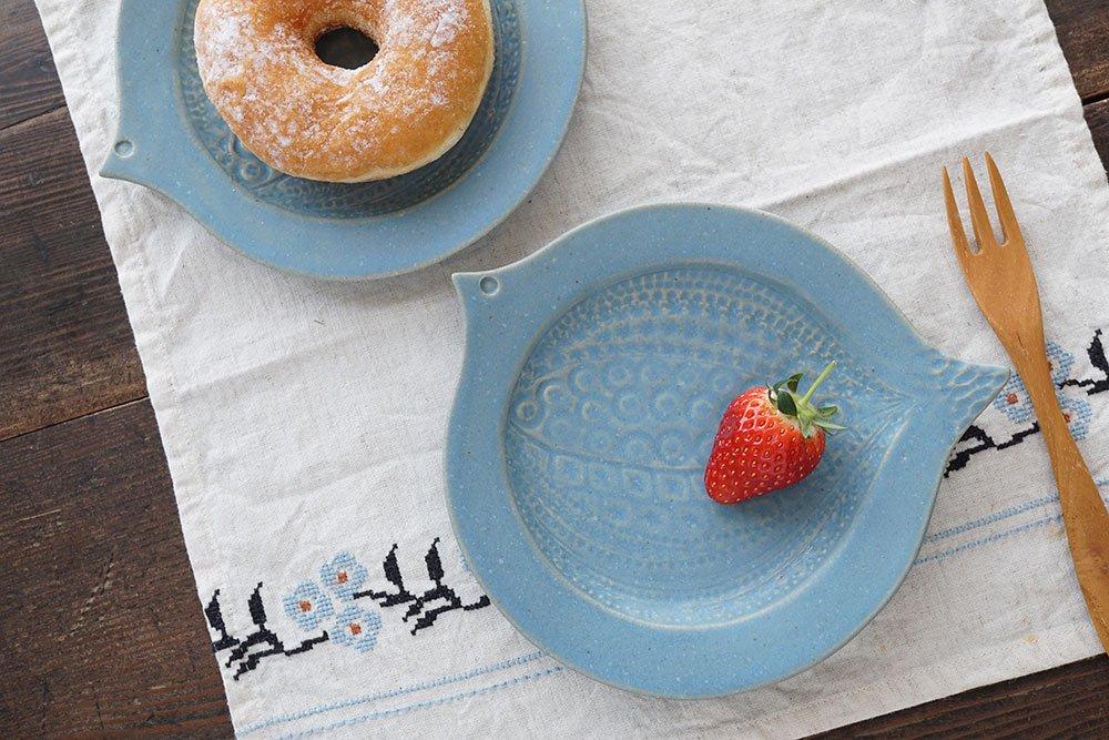 ブルーグレー 鳥皿