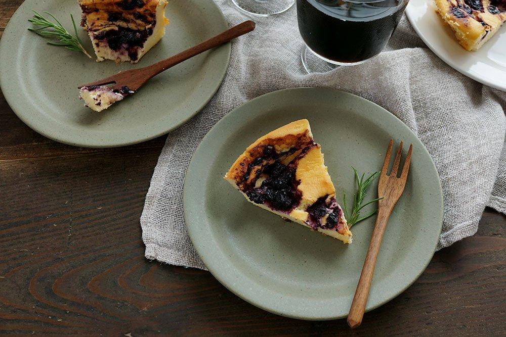 オリーブグリーン ラウンドリムプレート 6寸ケーキ皿