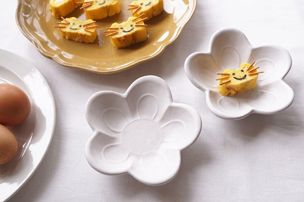 ホワイト お花小皿