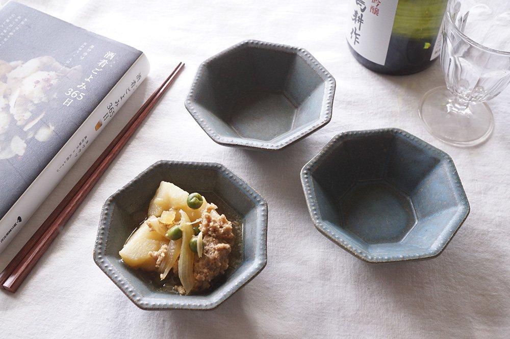 青錆釉 八角洋小鉢