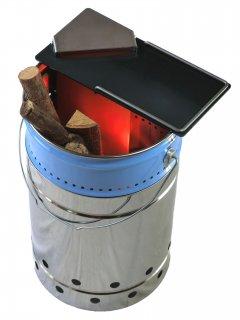 ウッドガス焚火缶t3.2mmBBQ天板/ダウン吸気ダクト付き