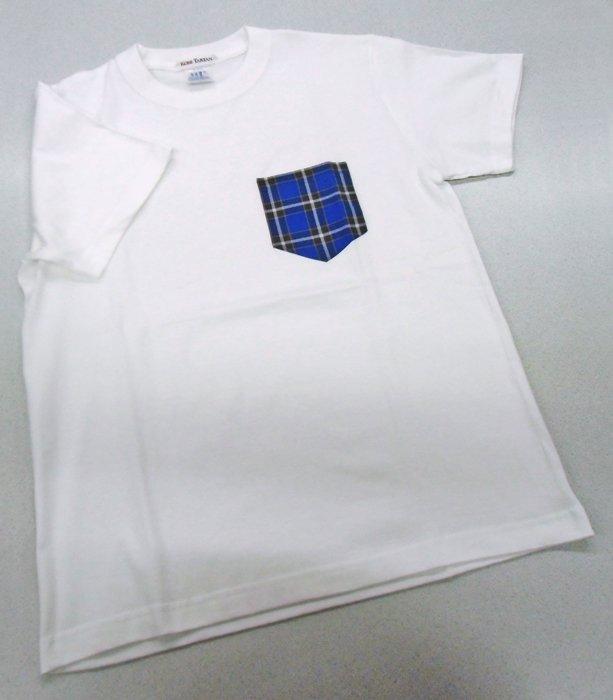 神戸タータンデザイン ホワイト G-Mサイズ クルーネック半袖Tシャツ