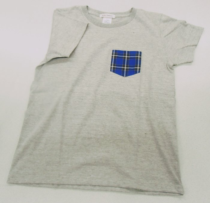 神戸タータン クルーネック半袖Tシャツ グレー Mサイズ