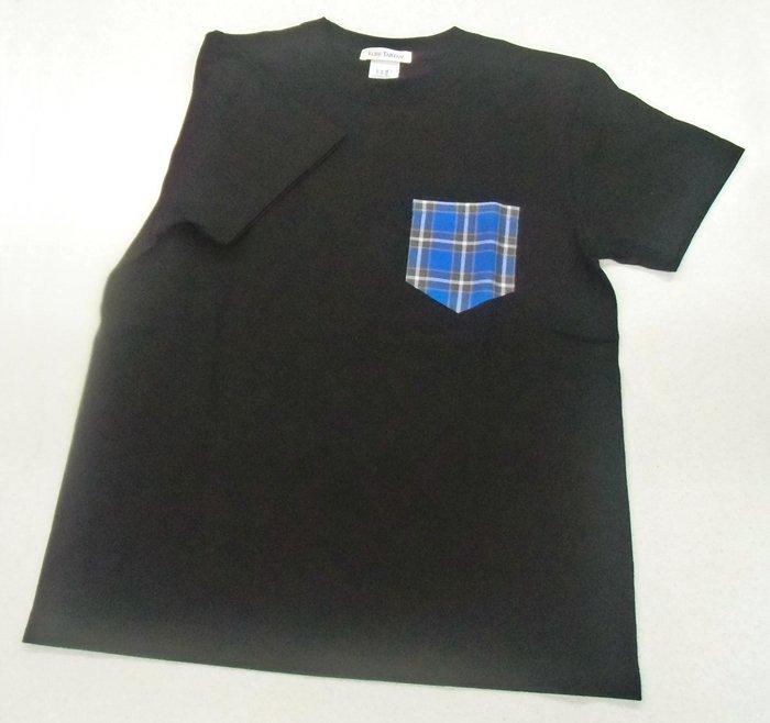 神戸タータンデザイン ブラック Lサイズ クルーネック半袖Tシャツ