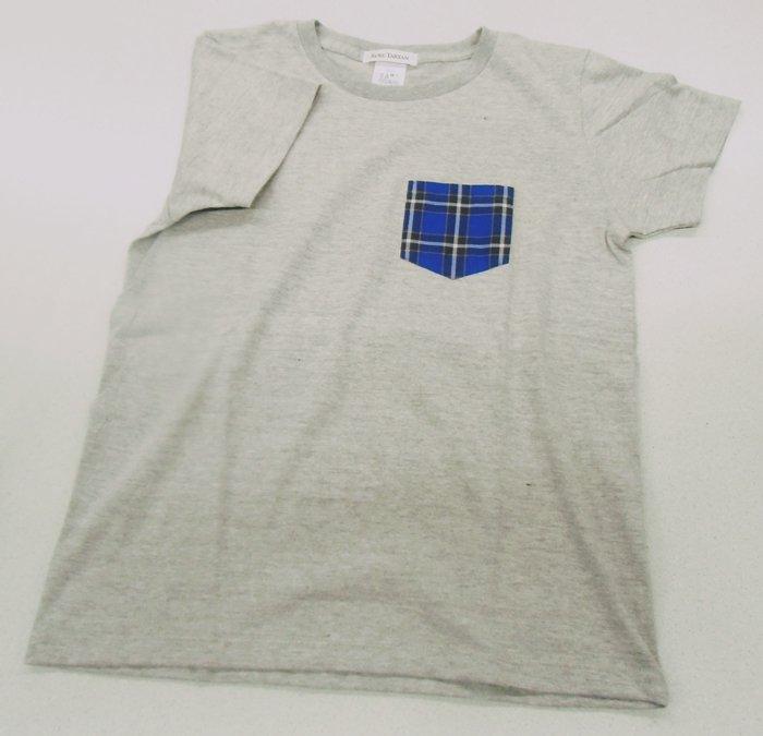 神戸タータン クルーネック半袖Tシャツ グレー Lサイズ