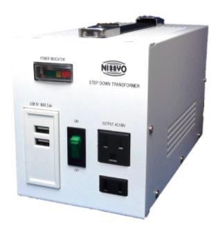 【変圧器】【海外用】 日章工業 USB付ダウントランス デラックスタイプ 定格容量800W 対応電圧110〜127V SPX-800U