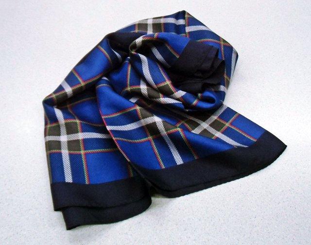 神戸タータン 捺染プリント シルクスカーフ 【神戸タータンオリジナル紙袋プレゼント!!】