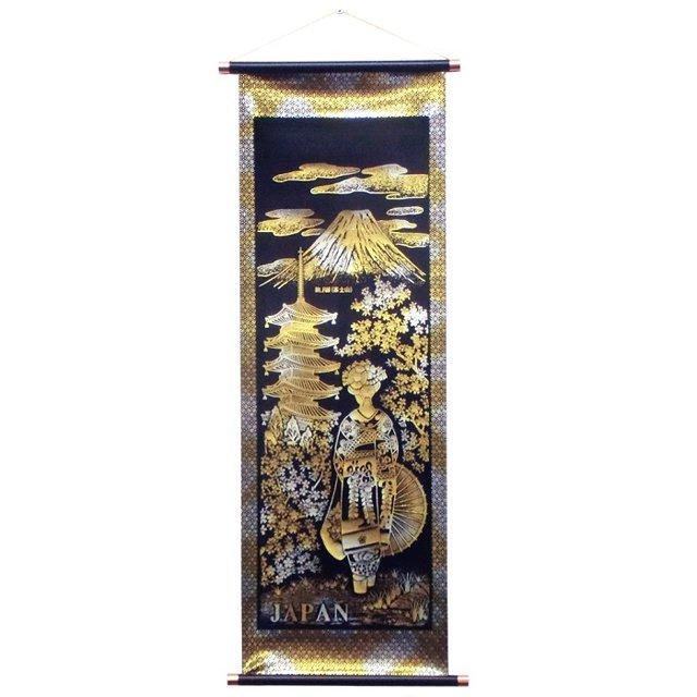 お土産品 掛け軸〈中サイズ〉金箔/桜舞妓