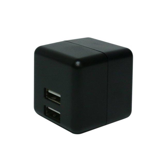 ミヨシ キューブ型 USB-ACアダプタ 2ポート 自動出力制御IC搭載 海外100〜240V対応 ブラック IPA-US02/BK