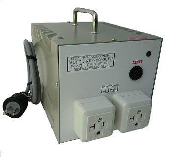 【受注生産品】【変圧器】【日本国内用】 日章工業 アップトランス 定格容量2000W 変換電圧100V→110V/120V/127V NDF-2000UPU
