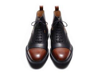 「受注生産商品」蓄光ヒール ストレートチップブーツ(ブラック×ブラウン)