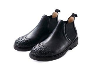 「受注生産商品」爪先メッシュ サイドゴアブーツ(ブラック)