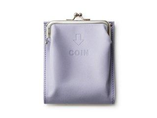 外がま口の二つ折財布 ラベンダー