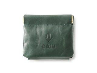 外コインケースの三つ折財布 グリーン