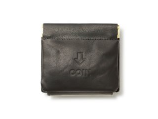 外コインケースの三つ折財布 ブラック