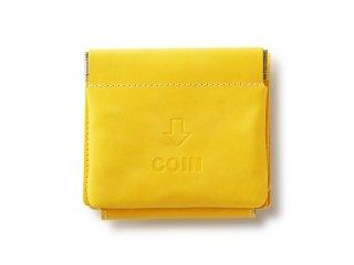 外コインケースの三つ折財布 イエロー