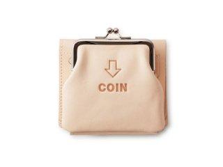 外がま口の三つ折財布 ナチュラル